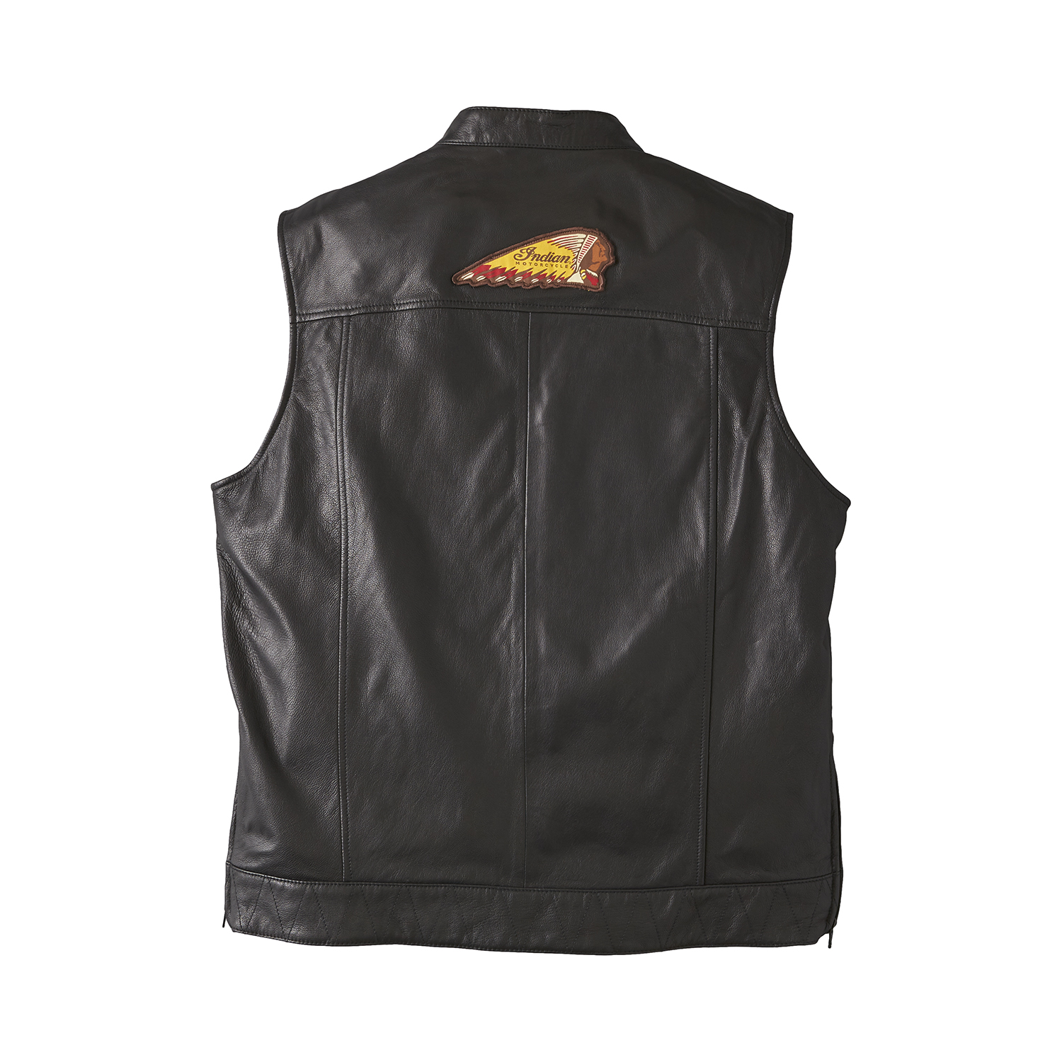 miniature 10 - Indian Motorcycle Men's Casual Zip-Up Outsider Leather Vest, Black