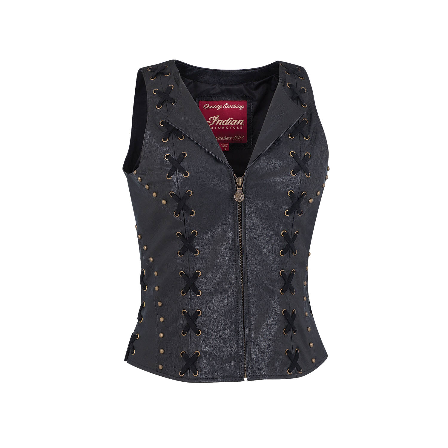 Women's Casual Zip-Up Leather Vest with Laced Detail, Black