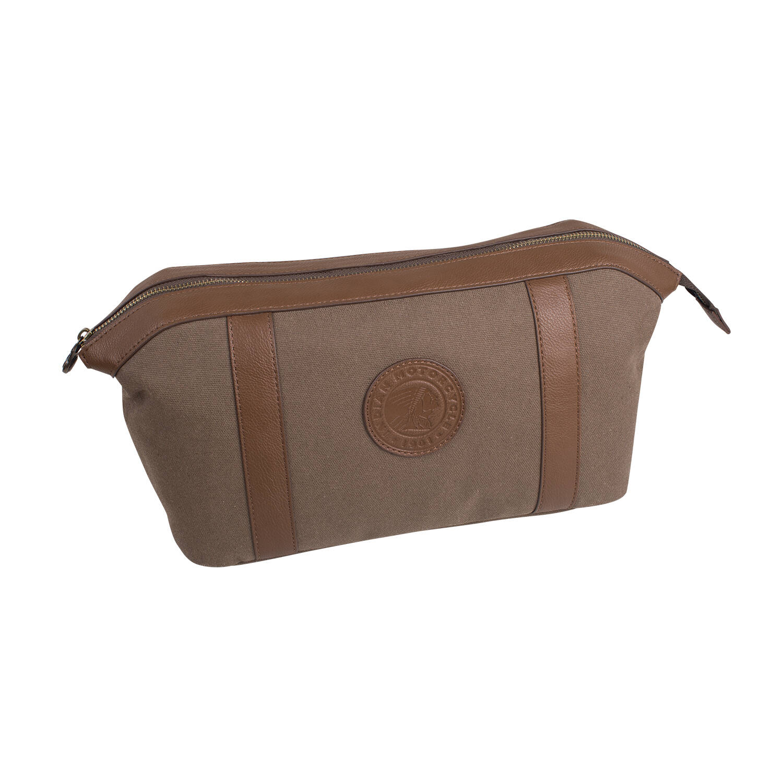 Waxed Cotton Washbag Bag, Olive