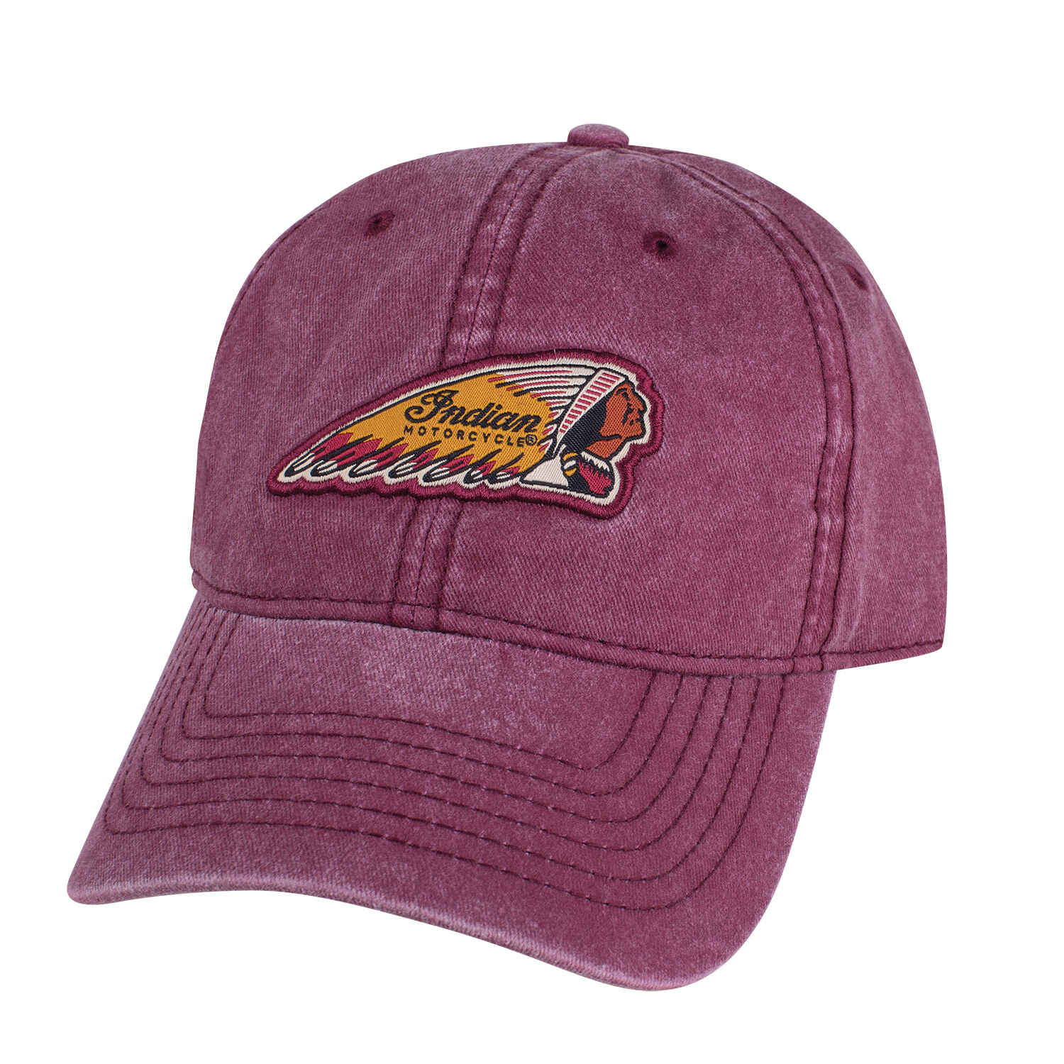 Washed Hat with Headdress Logo, Red