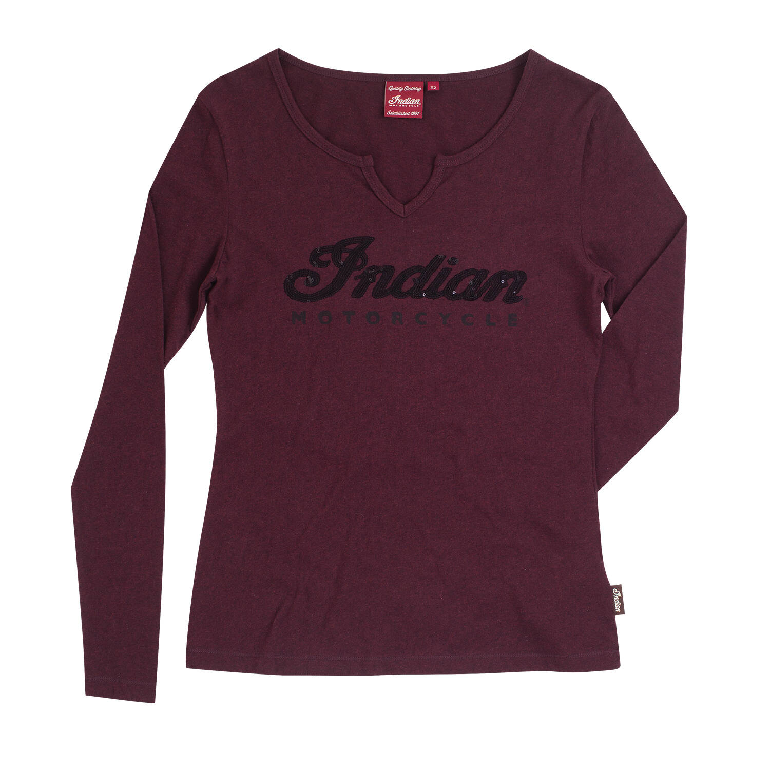 Women's Long-Sleeve T-Shirt with Sequin Logo, Port