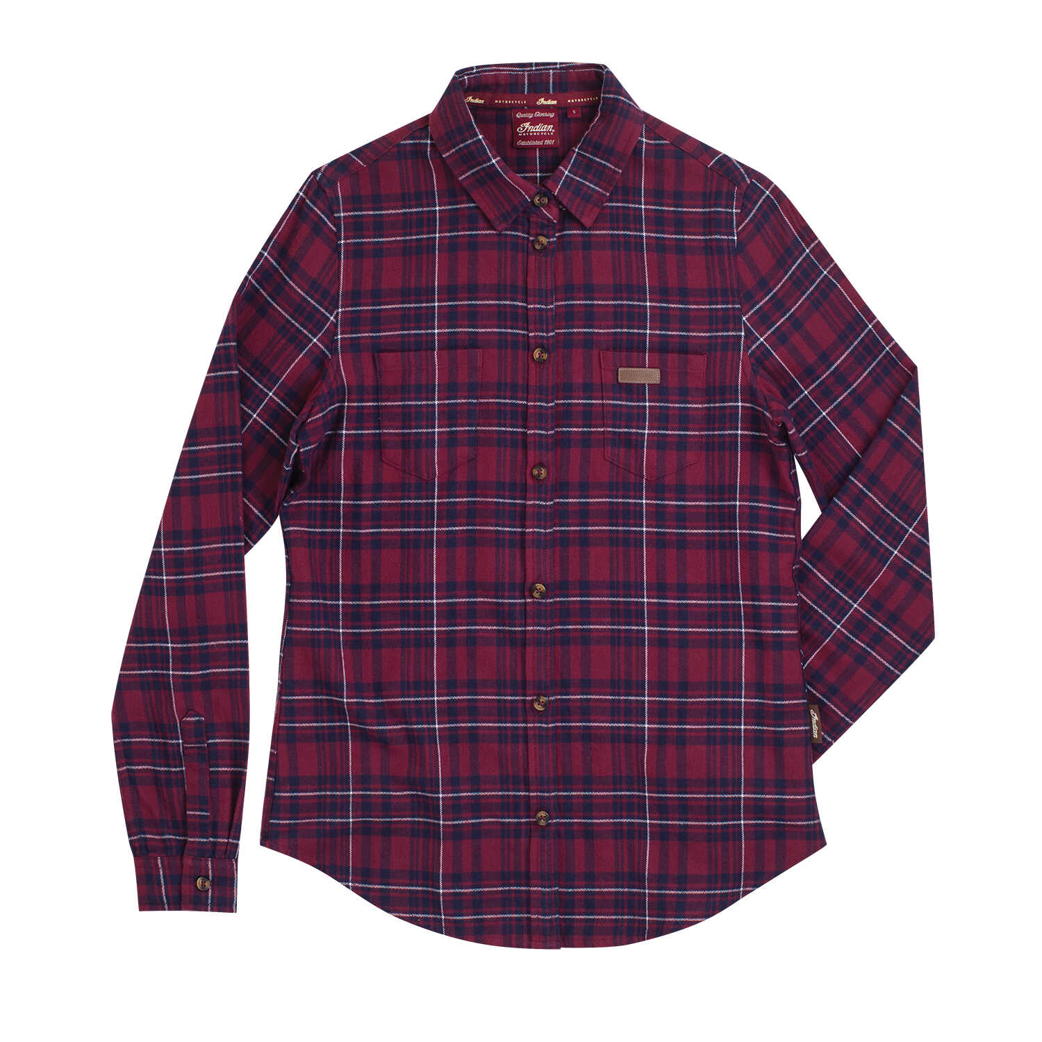 Women's Plaid Shirt with Embroidered Logo, Red/Navy