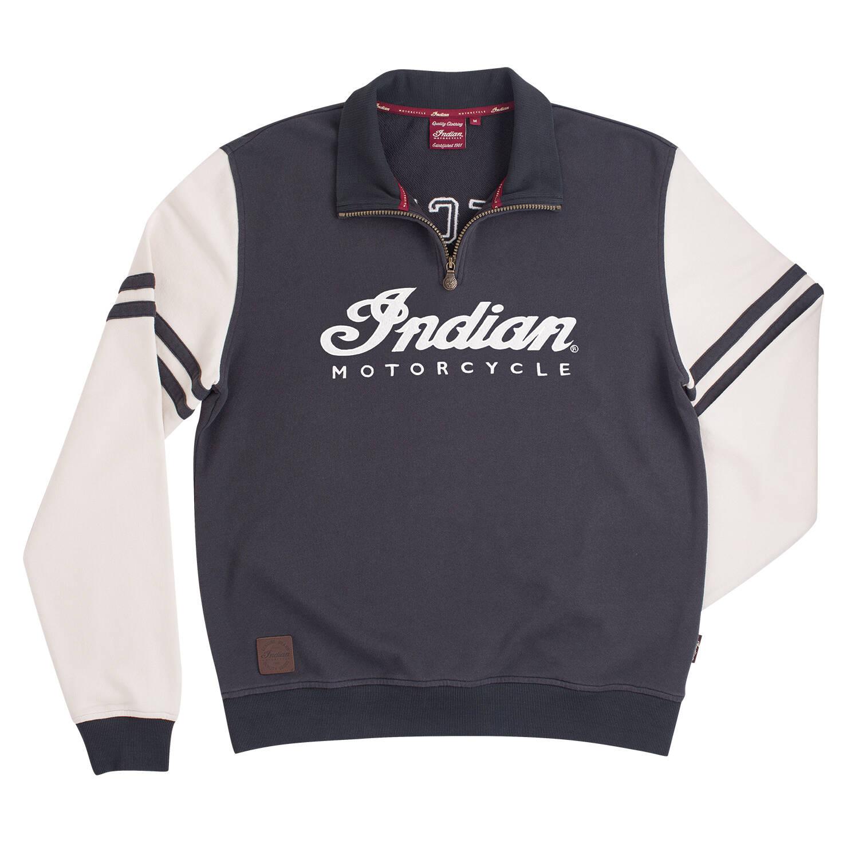 Men's Quarter-Zip Pullover Sweatshirt with Wrecking Crew Logo, Gray/White