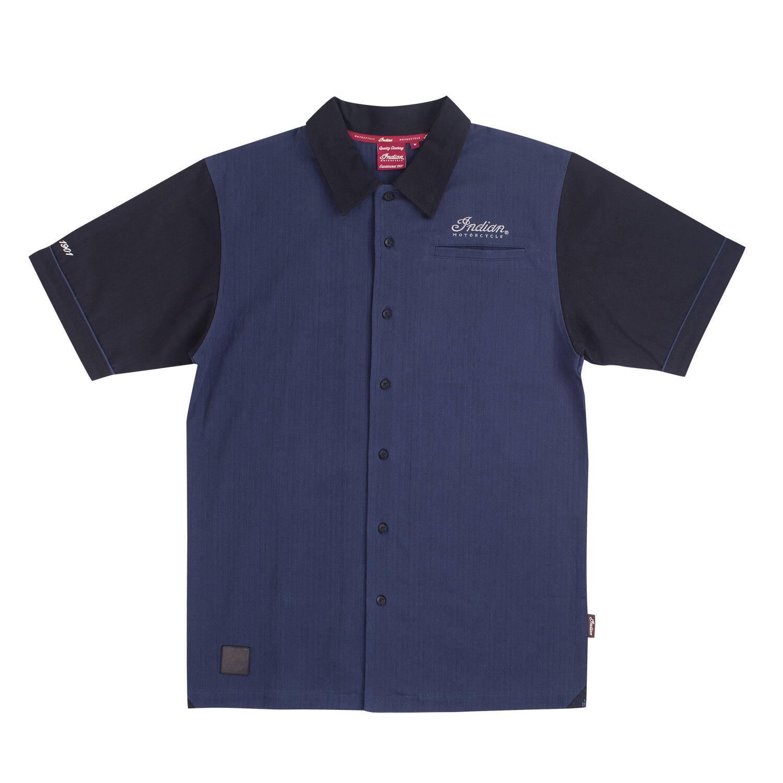 Men's Short-Sleeve Retro Bomber Girl Shirt, Navy/Black