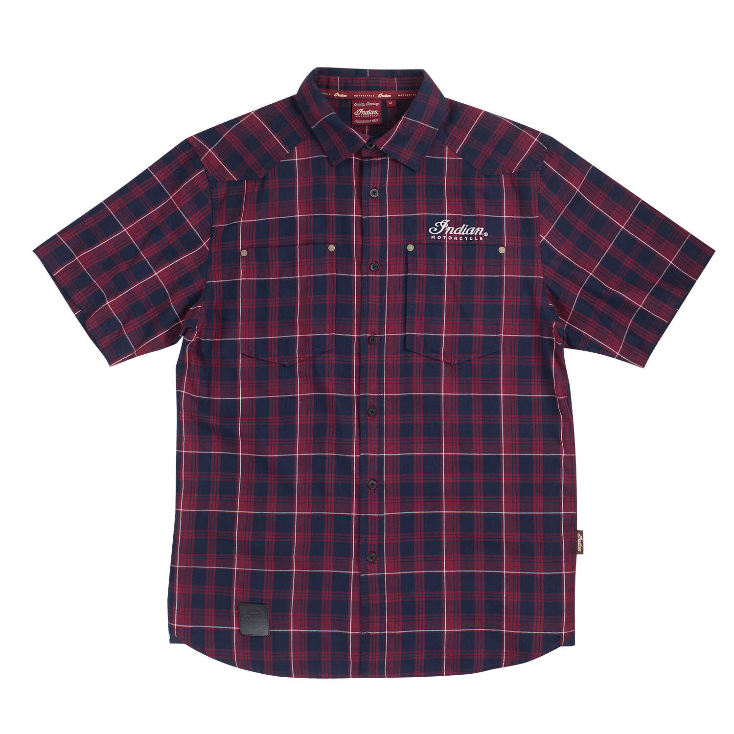 Men's Short-Sleeve Plaid Shirt with Embroidered Logo, Red/Navy