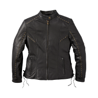 Women's Casual Leather Adeline Jacket with Studs and Lace Detail, Black