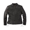 Women's Casual Leather Adeline Jacket with Studs and Lace Detail, Black - Image 4 of 6