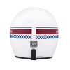 Retro Open Face Helmet with Stripe and Checker, White - Image 4 of 9
