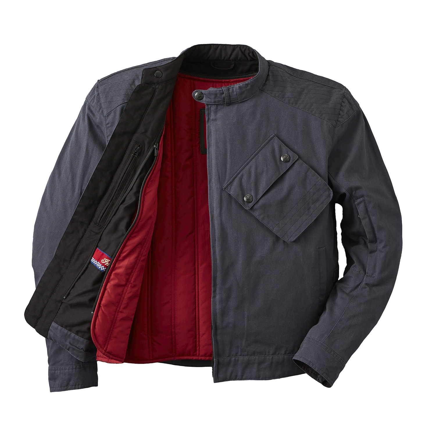 miniature 9 - Indian Motorcycle Men's Waxed Cotton Sacramento Riding Jacket with Removable