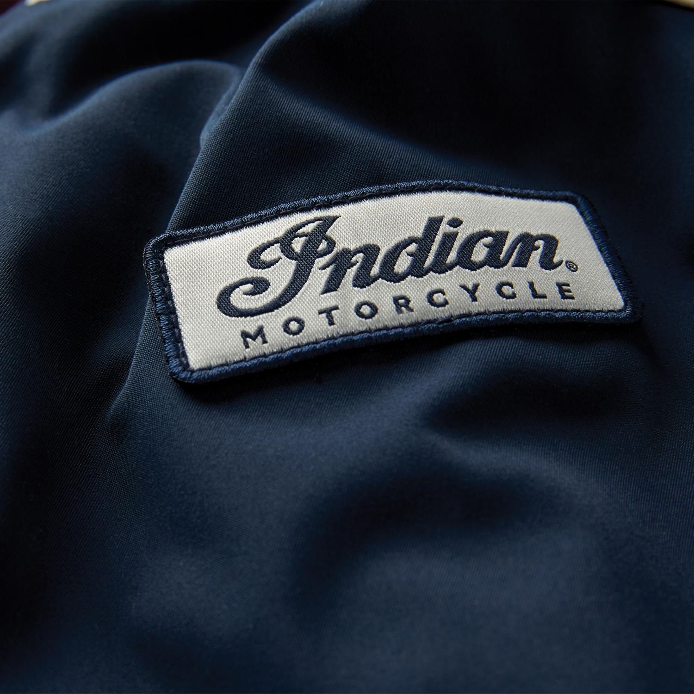 miniature 9 - Indian Motorcycle Men's Casual Retro Bomber Jacket, Navy