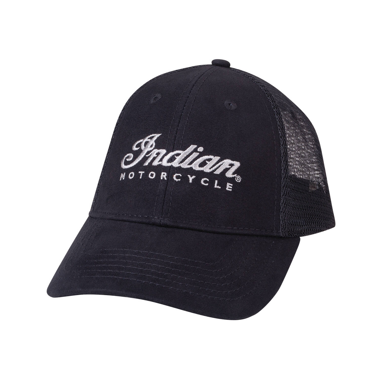 Trucker Hat with Embroidered  Script Logo, Black