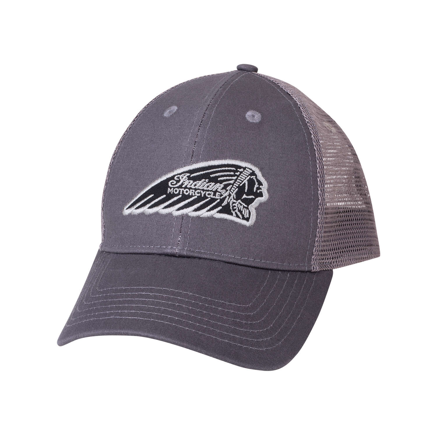 Trucker Hat with Embroidered Headdress Logo, Gray