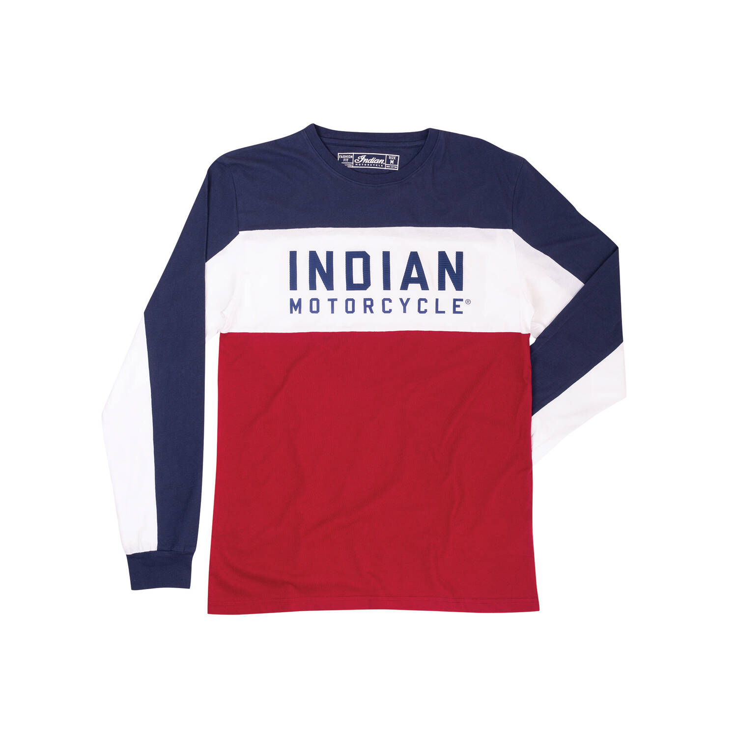 Men's Long-Sleeve Color Block T-shirt, Red/White/Blue