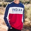 Men's Long-Sleeve Color Block T-shirt, Red/White/Blue - Image 3 of 4