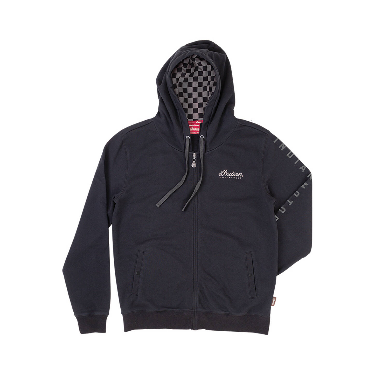 Men's Full-Zip Hoodie Sweatshirt with Checkers, Black/Gray