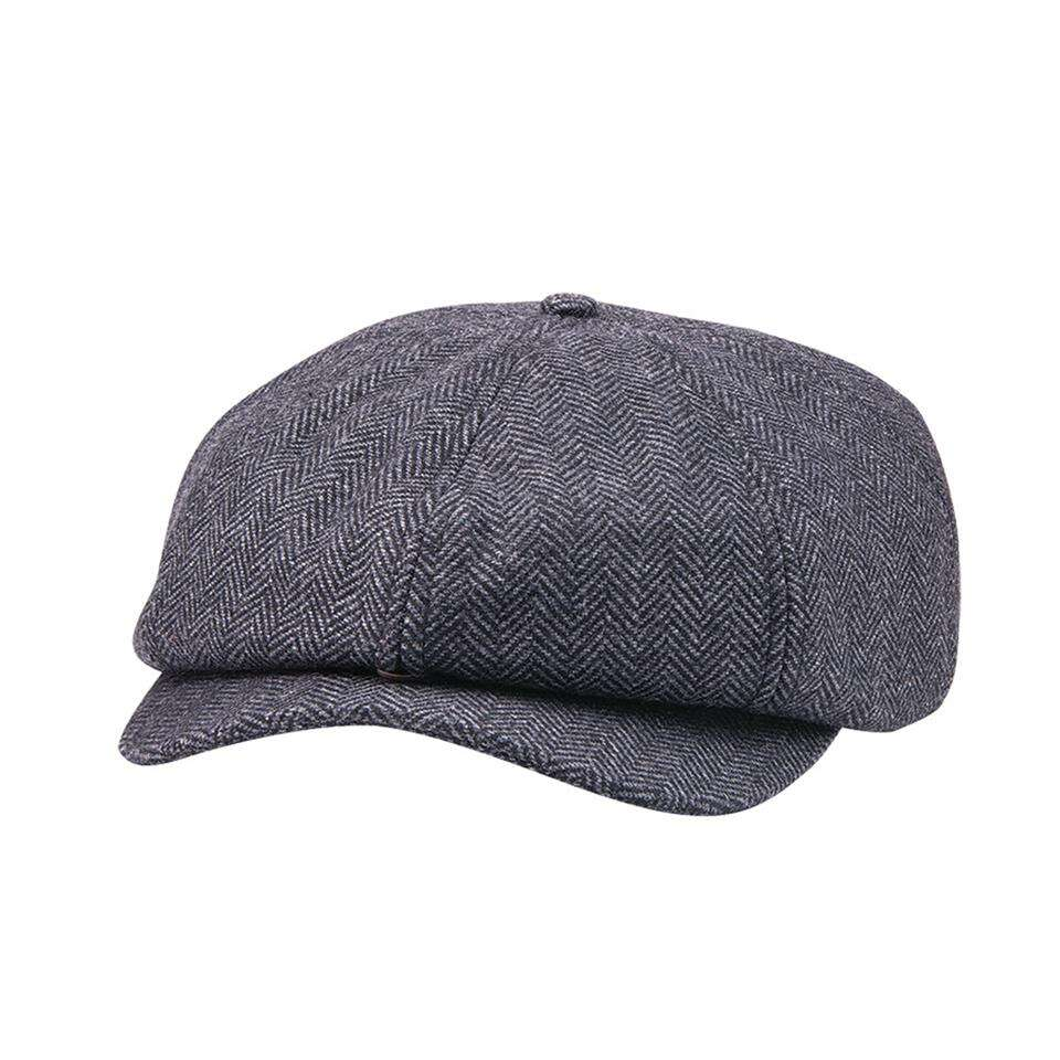 Herringbone Baker Boy Cap Hat, Gray