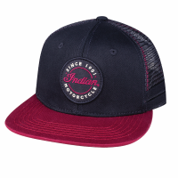 Flatbill Script Logo Trucker Hat , Black/Red