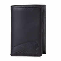 Leather Tri-Fold Wallet with Embossed Logo, Black