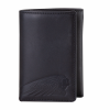 Leather Tri-Fold Wallet with Embossed Logo, Black - Image 1 of 5