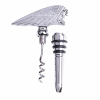 2 in 1 Metal Headdress Corkscrew and Wine Stopper, Silver - Image 1 of 1