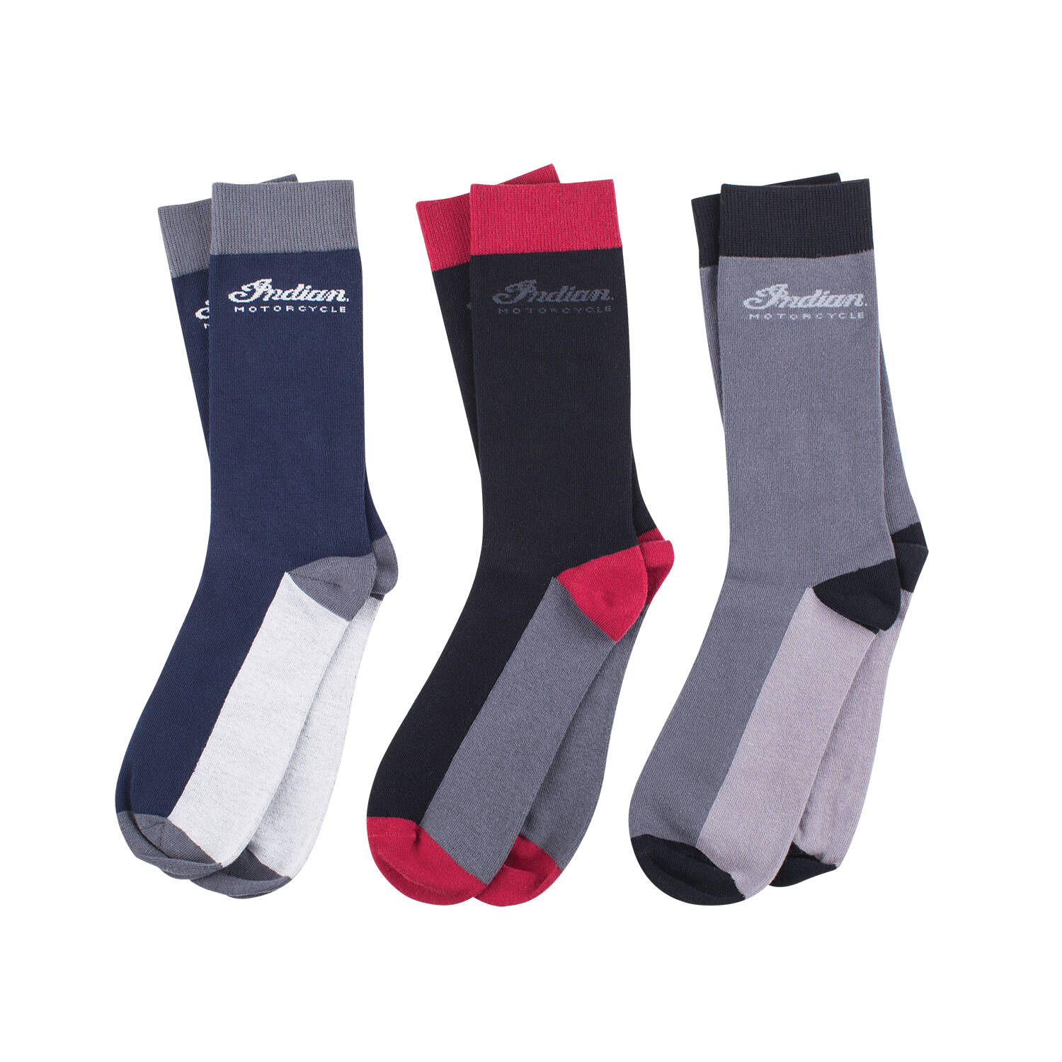 Men's Mid-Calf Socks, 3 Pack, Black/Gray/Navy