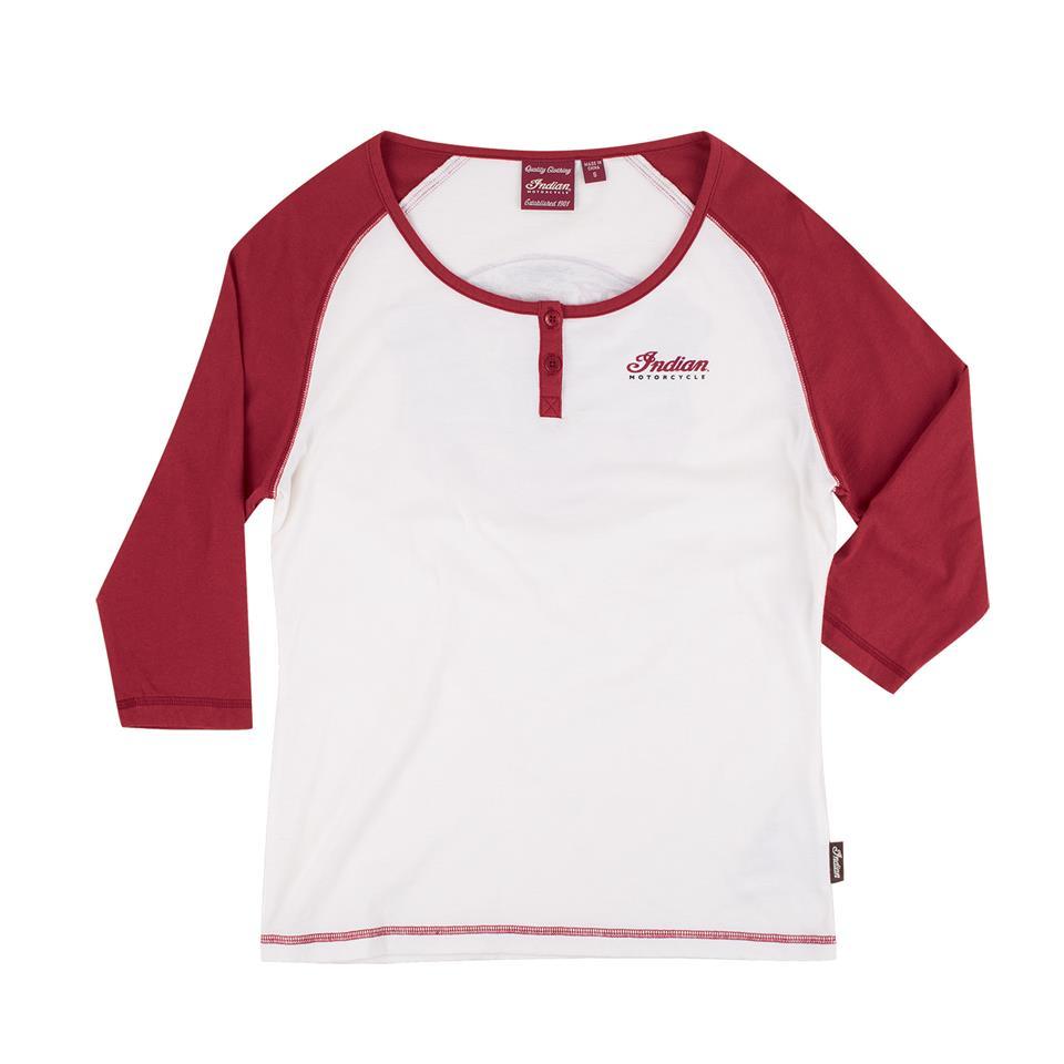 Women's 3/4 Sleeve Raglan Henley T-Shirt, White/Red