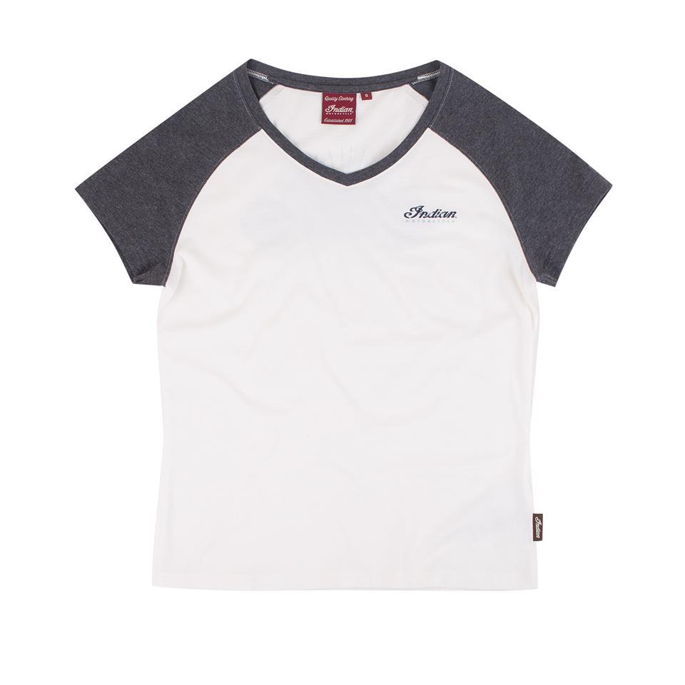Women's Raglan T-Shirt with Scout Bike Print, White