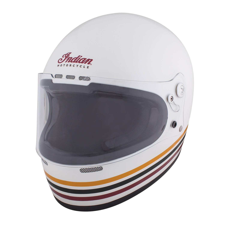 Full Face Retro Helmet with Stripes, White