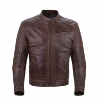 Men's Leather Phoenix Riding Jacket with Removable Lining, Brown