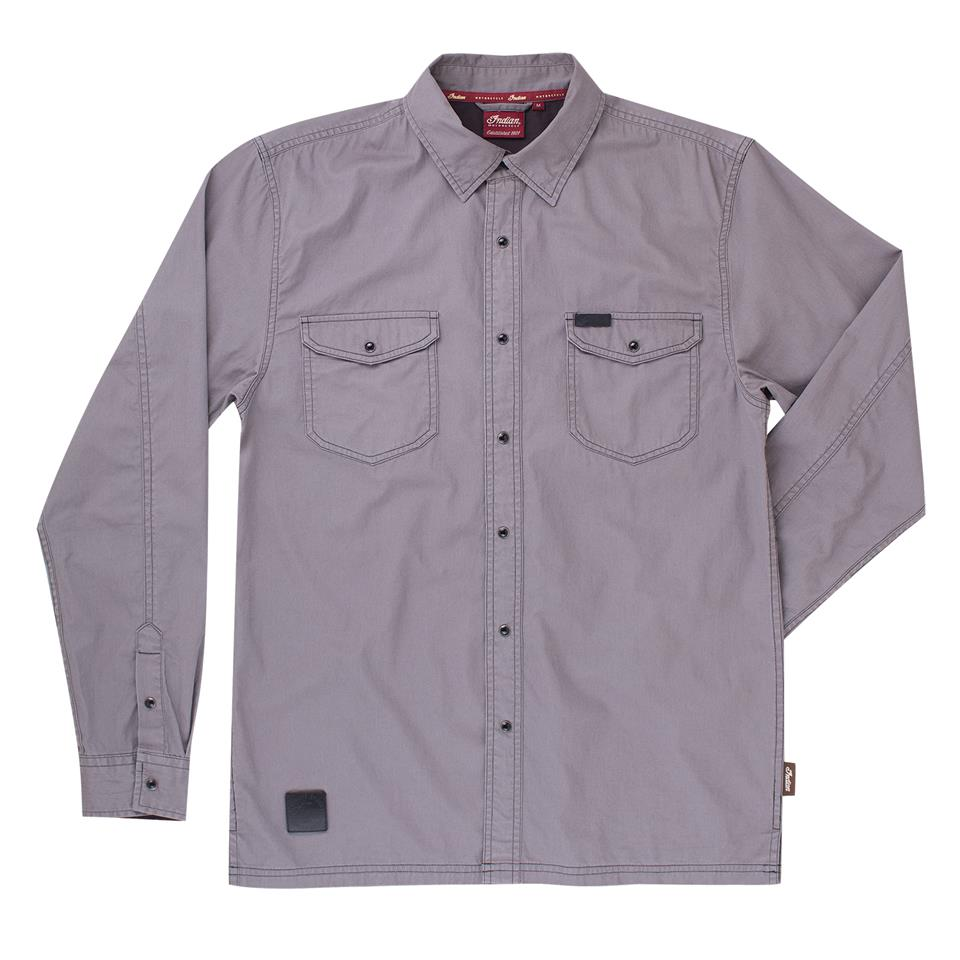 Men's Washed Twill Shirt, Gray