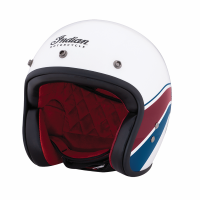 Retro Open Face Helmet with Stripe and Checker, White