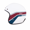 Retro Open Face Helmet with Stripe and Checker, White - Image 2 of 9