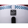 Retro Open Face Helmet with Stripe and Checker, White - Image 9 of 9