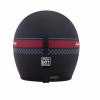 Retro Open Face Helmet with Stripe and Checker, Matte Black - Image 3 of 9
