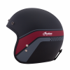 Retro Open Face Helmet with Stripe and Checker, Matte Black - Image 5 of 9