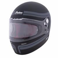 Full Face Retro Helmet with Matte Stripes, Black