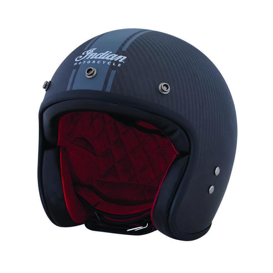 Carbon Fiber Motorcycle Helmets >> Open Face Carbon Fiber Retro Helmet With Stripes Black