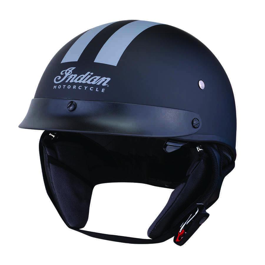 Half Helmet with Gray Stripe, Black