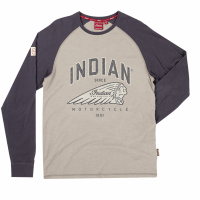 Men's Long-Sleeve Raglan T-Shirt with Headdress Logo, Gray/Charcoal