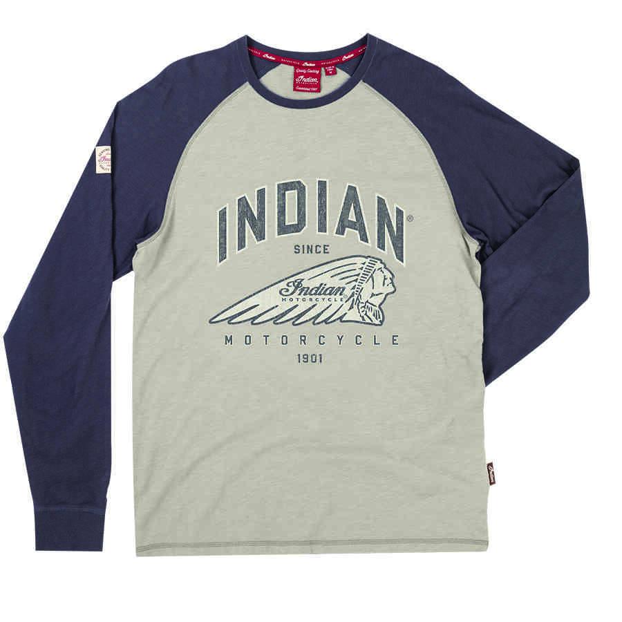 Men's Long-Sleeve Raglan T-Shirt with Headdress Logo, Gray/Charcoal