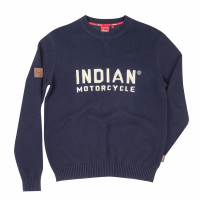 Men's Knit Sweater with Print Logo, Navy