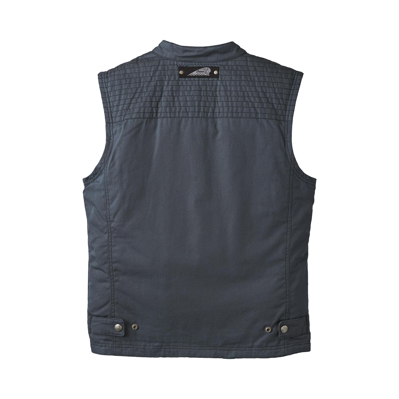 miniature 9 - Indian Motorcycle Men's Casual Retro Waxed Cotton Vest, Black