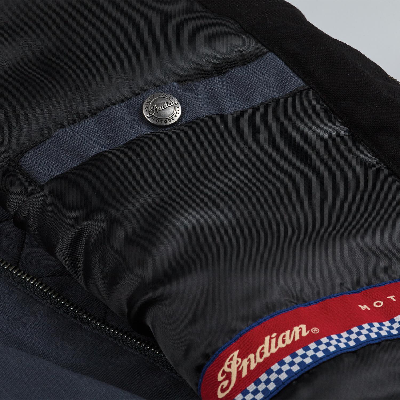 miniature 10 - Indian Motorcycle Men's Casual Retro Waxed Cotton Vest, Black