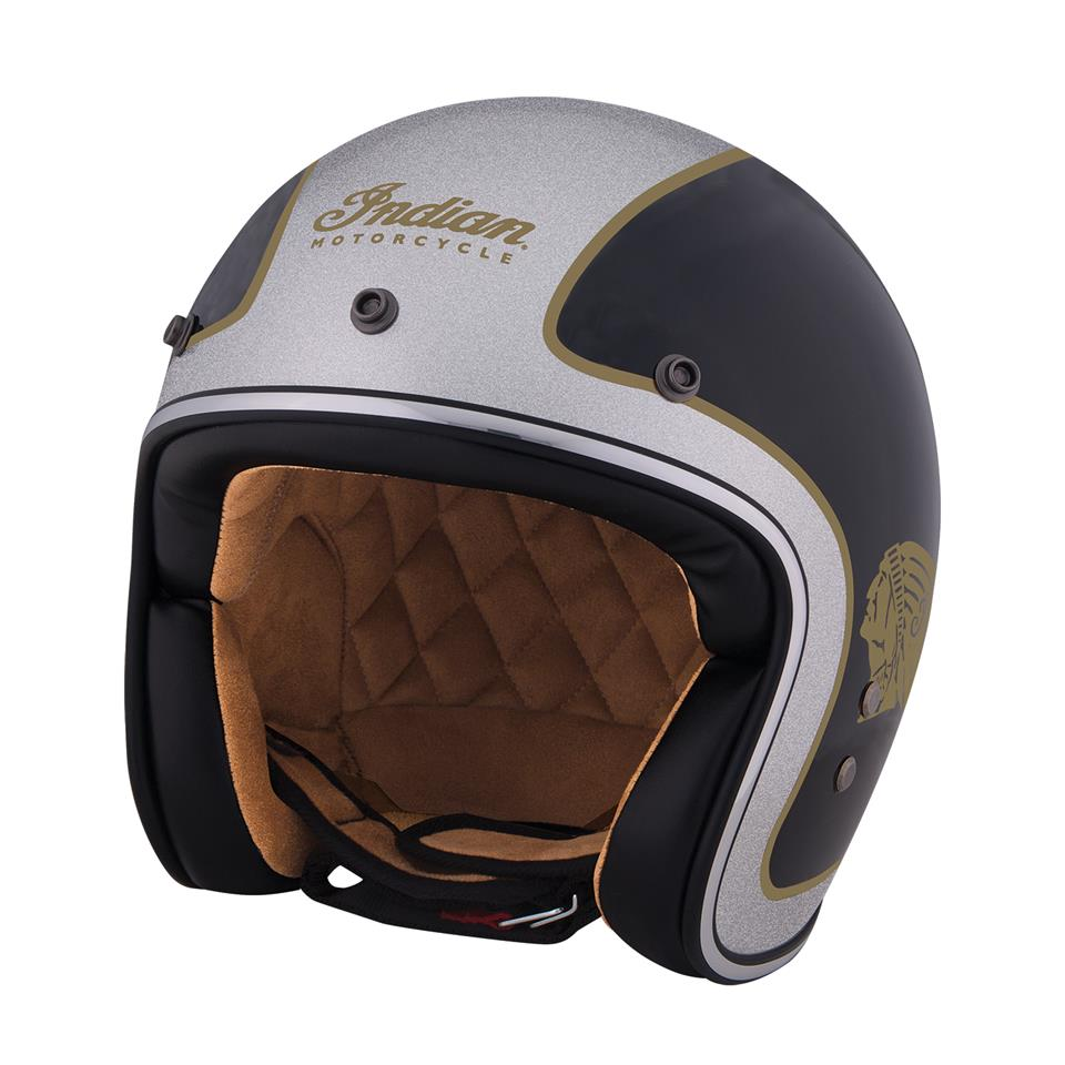 Two Tone Open Face Helmet, Black/Silver