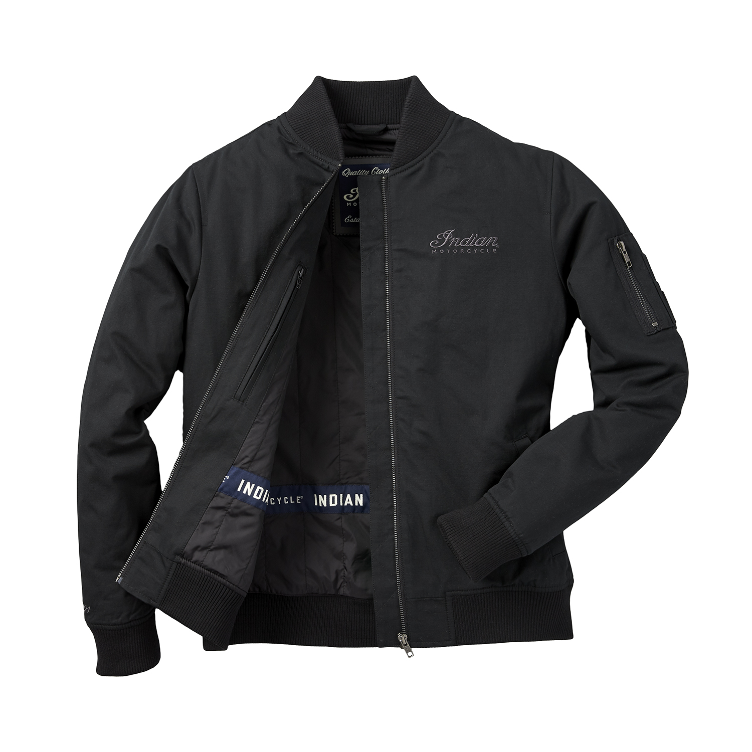 miniature 10 - Indian Motorcycle Women's Casual Bomber Jacket, Black