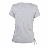 Women's V-Neck T-Shirt with Side-Laces Design, Gray Marl - Image 2 of 2