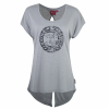 Women's Open-Back T-Shirt with Circle Icon Logo, Gray - Image 1 de 3