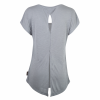 Women's Open-Back T-Shirt with Circle Icon Logo, Gray - Image 3 de 3