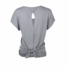 Women's Open-Back T-Shirt with Circle Icon Logo, Gray - Image 2 de 3