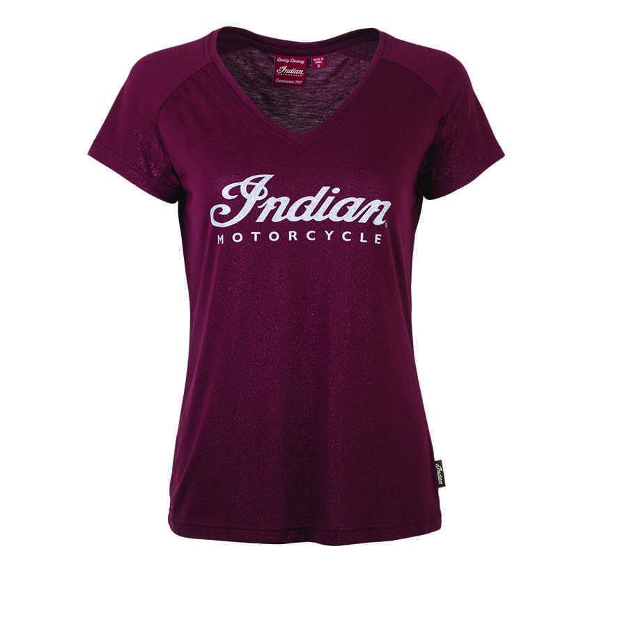 Women's Script Logo Sparkle T-Shirt, Port